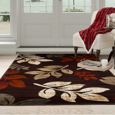 Falling Leaves Red/Beige Area Rug Rug Size: 33 x 5