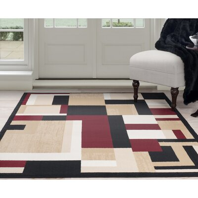 Modern Mondrian Beige/Red Area Rug Rug Size: Rectangle 5 x 77