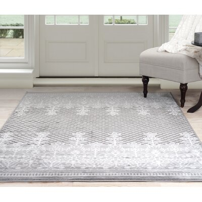 Royal Garden Gray Area Rug Rug Size: 5 Round