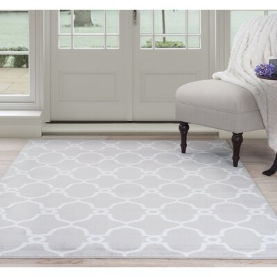 Lattice Gray/White Area Rug Rug Size: 5 Round