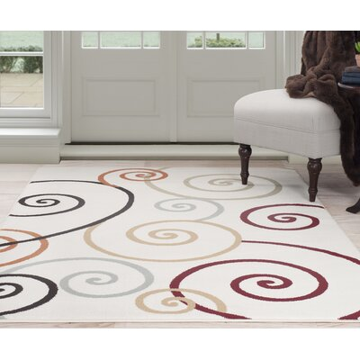 Spirals Beige/Red Area Rug Rug Size: Rectangle 4 x 6