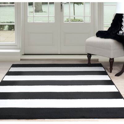 Bold Stripe Black/White Area Rug Rug Size: Rectangle 5 x 77