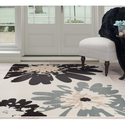 Flower Beige/Black Area Rug Rug Size: Rectangle 4 x 6