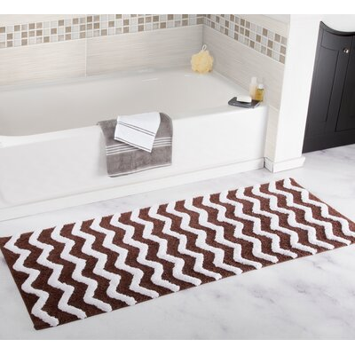 Chevron Bath Mat Color: Chocolate