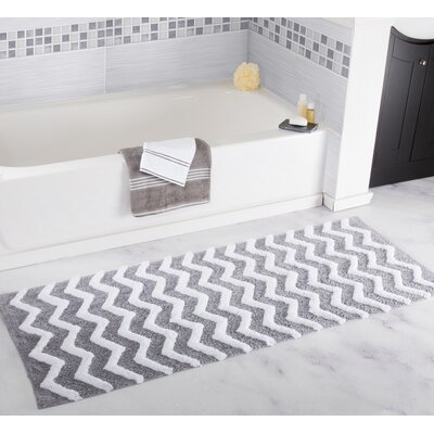 Chevron Bath Mat Color: Silver