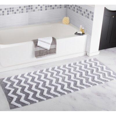 Chevron Bath Mat Color: Silver