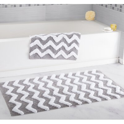 2 Piece Chevron Bath Rug Set Color: Silver