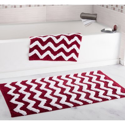 2 Piece Chevron Bath Rug Set Color: Burgundy
