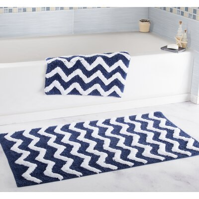 2 Piece Chevron Bath Rug Set Color: Navy