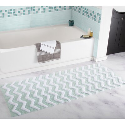 Chevron Bath Mat Color: Seafoam