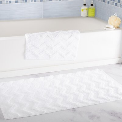 2 Piece Chevron Bath Rug Set Color: White