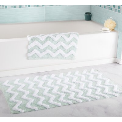 2 Piece Chevron Bath Rug Set Color: Seafoam