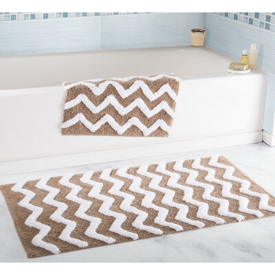2 Piece Chevron Bath Rug Set Color: Taupe