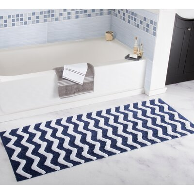 Chevron Bath Mat Color: Navy
