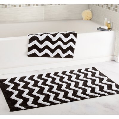 2 Piece Chevron Bath Rug Set Color: Black