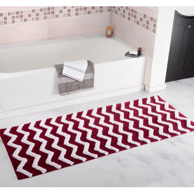 Chevron Bath Mat Color: Burgundy