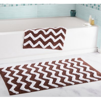 2 Piece Chevron Bath Rug Set Color: Chocolate