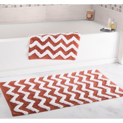 2 Piece Chevron Bath Rug Set Color: Brick