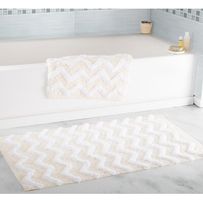 2 Piece Chevron Bath Rug Set Color: Bone