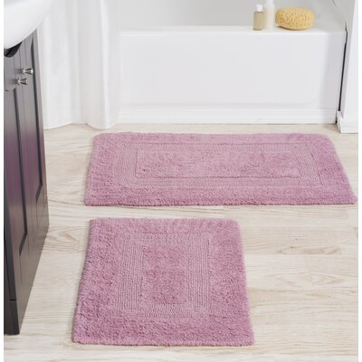 2 Piece Cotton Bath Rug Set Color: Rose