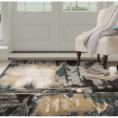 Artfully Abstract Gray/Beige Area Rug Rug Size: Rectangle 53 x 77