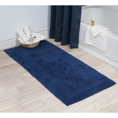 Cotton Long Bath Rug Color: Navy
