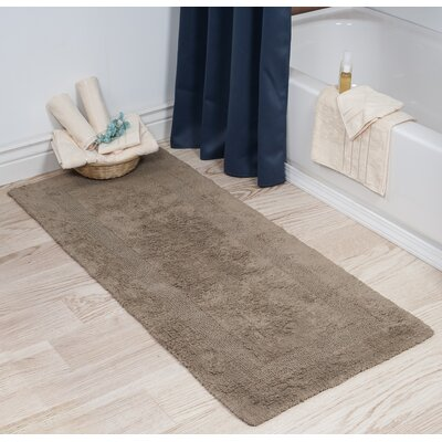 Cotton Long Bath Rug Color: Taupe