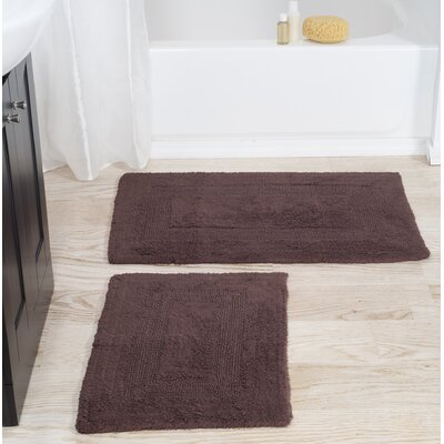 2 Piece Cotton Bath Rug Set Color: Chocolate