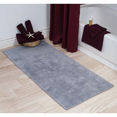 Cotton Long Bath Rug Color: Silver