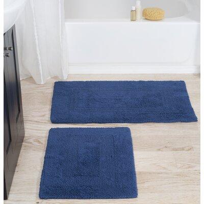 2 Piece Cotton Bath Rug Set Color: Navy