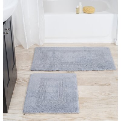 2 Piece Cotton Bath Rug Set Color: Silver