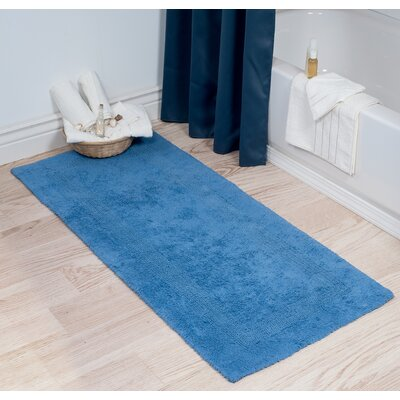 Cotton Long Bath Rug Color: Blue