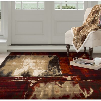 Artfully Abstract Red/Beige Area Rug Rug Size: Rectangle 33 x 5