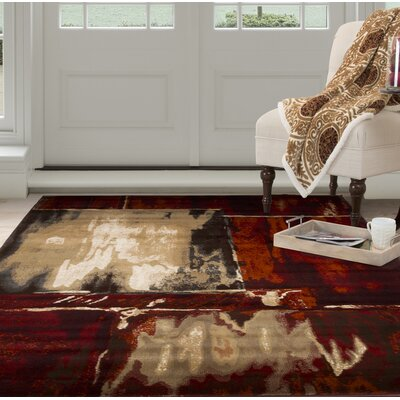Artfully Abstract Red/Beige Area Rug Rug Size: Rectangle 53 x 77
