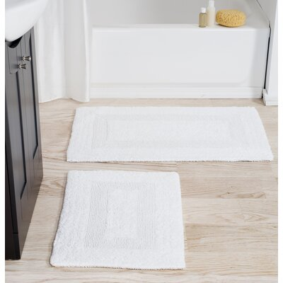 2 Piece Cotton Bath Rug Set Color: White