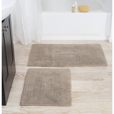 2 Piece Cotton Bath Rug Set Color: Taupe