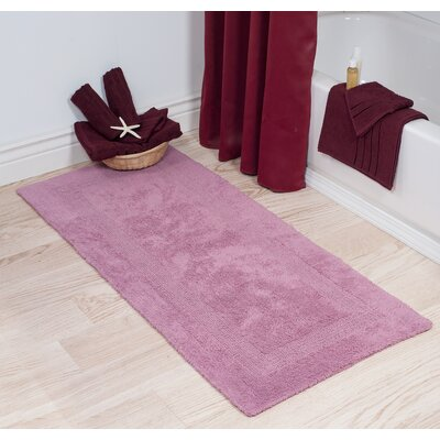 Cotton Long Bath Rug Color: Rose