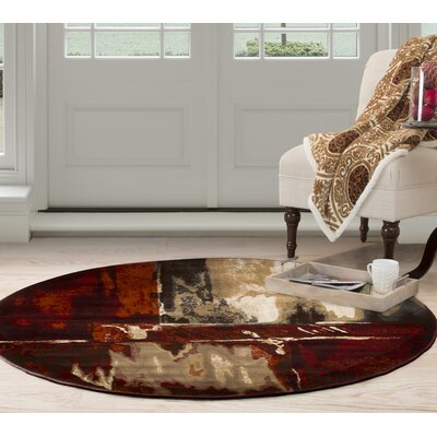 Artfully Abstract Red/Beige Area Rug Rug Size: Round 5