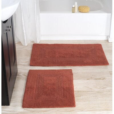 2 Piece Cotton Bath Rug Set Color: Brick