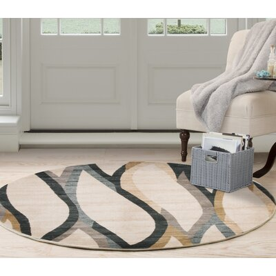 Contemporary Curves Beige/Black Area Rug Rug Size: Round 5
