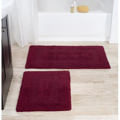 2 Piece Cotton Bath Rug Set Color: Burgundy