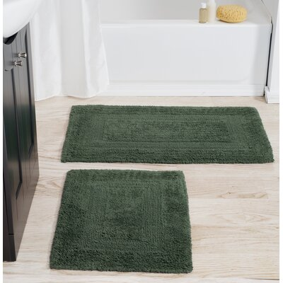 2 Piece Cotton Bath Rug Set Color: Green