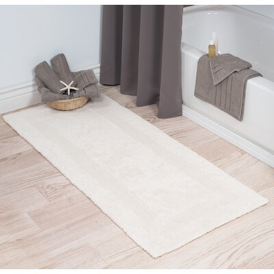 Cotton Long Bath Rug Color: Ivory