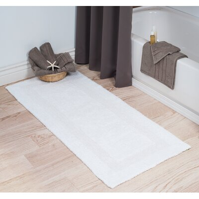 Cotton Long Bath Rug Color: White