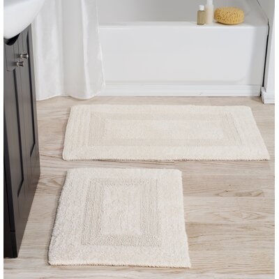 2 Piece Cotton Bath Rug Set Color: Ivory