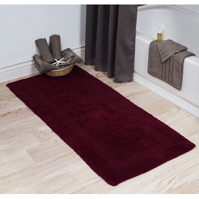 Cotton Long Bath Rug Color: Burgundy