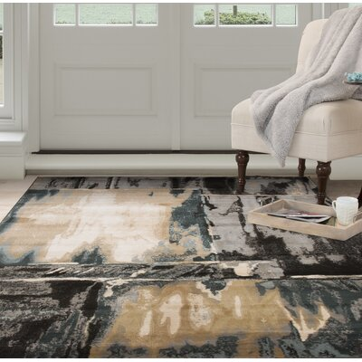 Artfully Abstract Gray/Beige Area Rug Rug Size: Rectangle 33 x 5