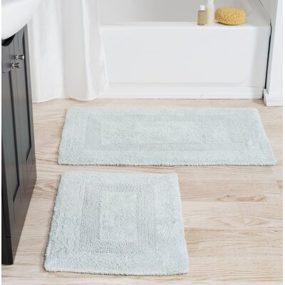 2 Piece Cotton Bath Rug Set Color: Seafoam
