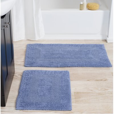 2 Piece Cotton Bath Rug Set Color: Blue