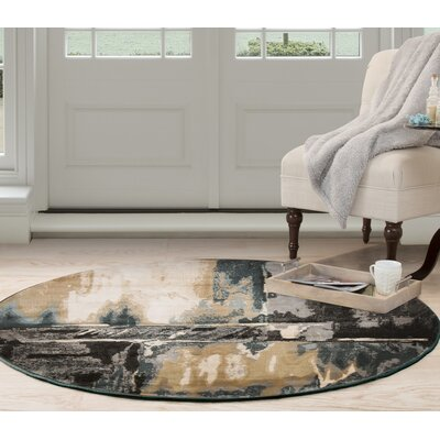 Artfully Abstract Gray/Beige Area Rug Rug Size: Round 5